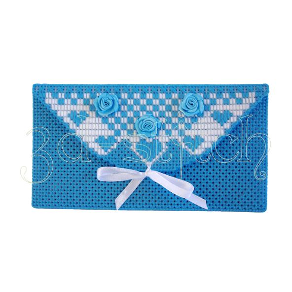 """Набор для вышивания на пластиковой канве Конверт """"С новорожденным!"""" (голубой), арт. КВ006-1"""