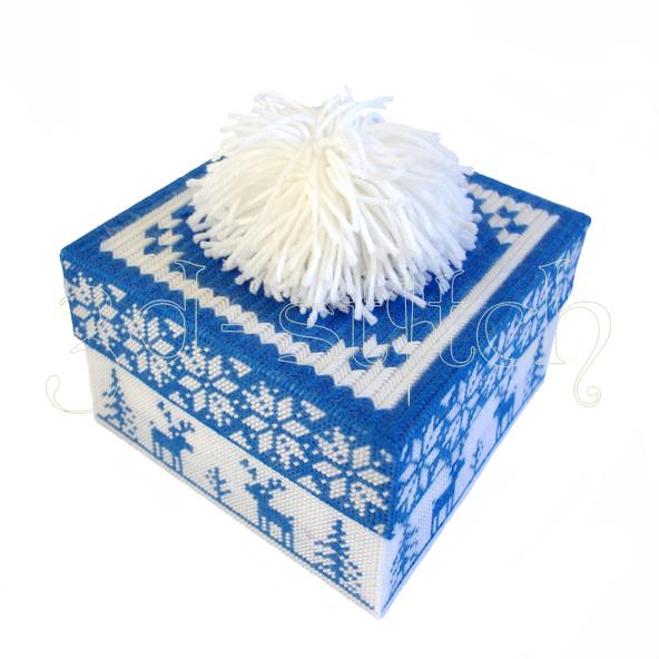 """Набор для вышивания на пластиковой канве Коробка """"Рождественские олени"""" (синяя), арт. КР008-2"""