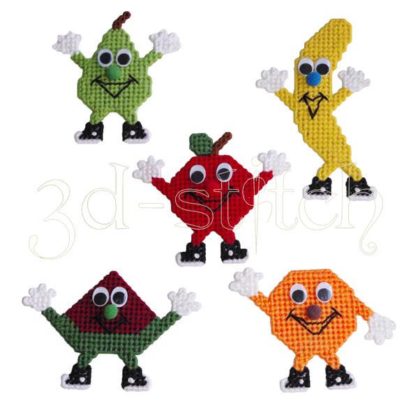 """Набор для вышивания на пластиковой канве Магнитики """"Веселые фрукты"""", арт. М005"""