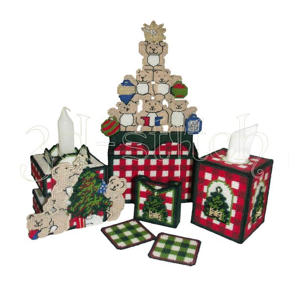 """Набор для вышивания на пластиковой канве Набор """"Новогодние мишки"""", арт. НГ003"""