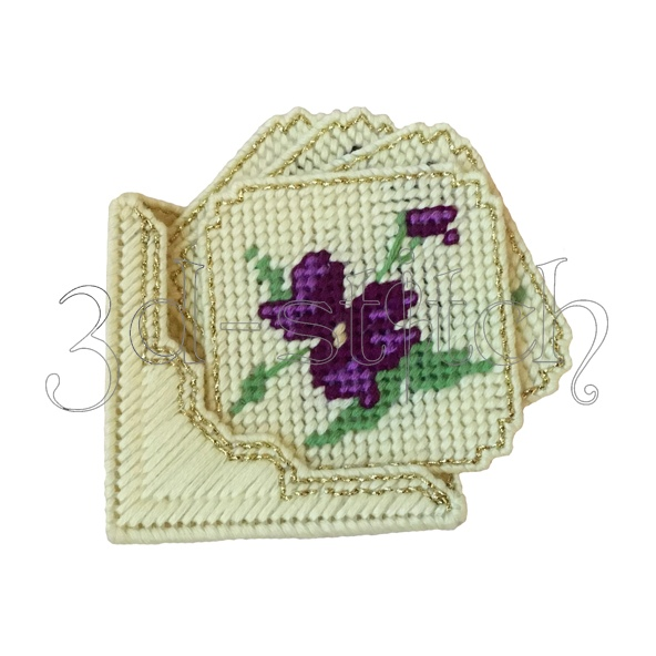"""Набор для вышивания на пластиковой канве Набор подставок """"Фиолетовые цветы"""", арт. ПД002"""