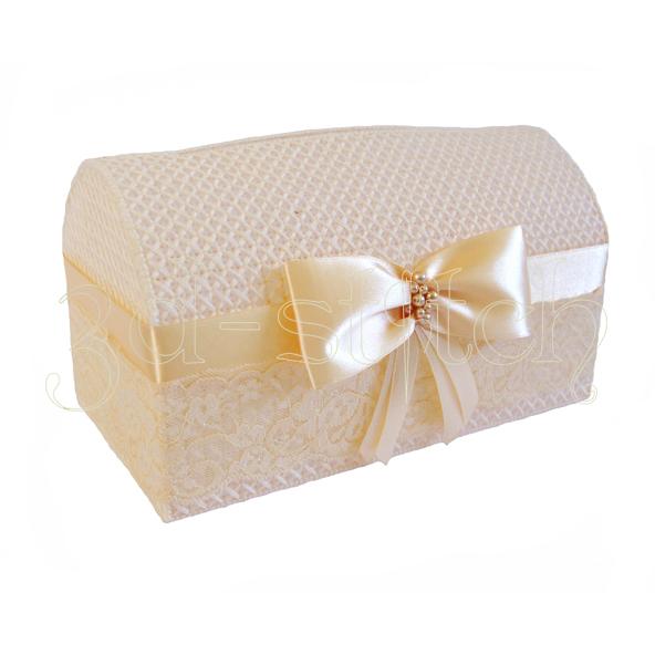 Набор для вышивания на пластиковой канве Свадебный сундучок (персиковый), арт. СД004