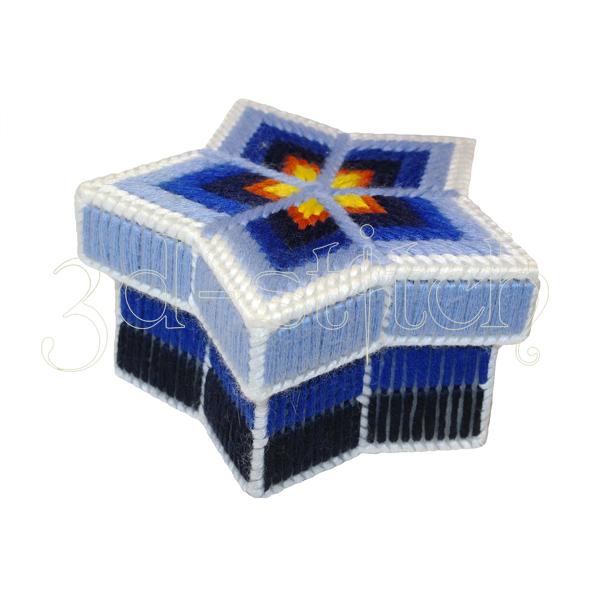 """Набор для вышивания на пластиковой канве Шкатулка-звезда """"Ультрамарин"""", арт. Ш007"""