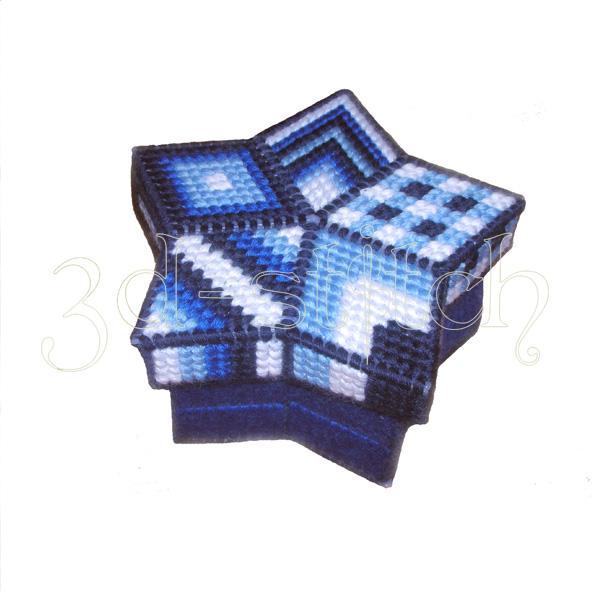 """Набор для вышивания на пластиковой канве Шкатулка-звезда """"Индиго"""", арт. Ш008"""