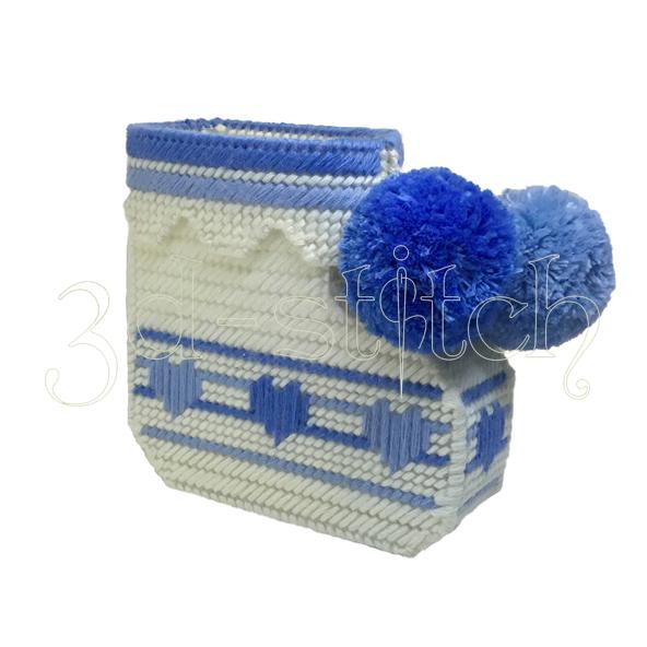 """Набор для вышивания на пластиковой канве Кашпо """"Детский носочек"""" (голубой), арт. ДТ003-2"""