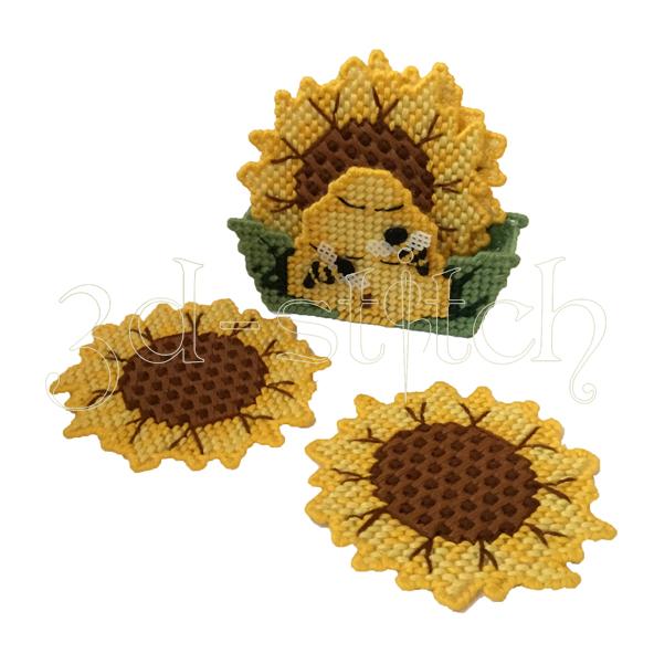 """Набор для вышивания на пластиковой канве  Набор подставок """"Подсолнухи и пчелы"""", арт. ПД005"""