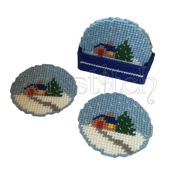 """Набор для вышивания на пластиковой канве Набор подставок """"Снежные шары"""", арт. ПД006"""