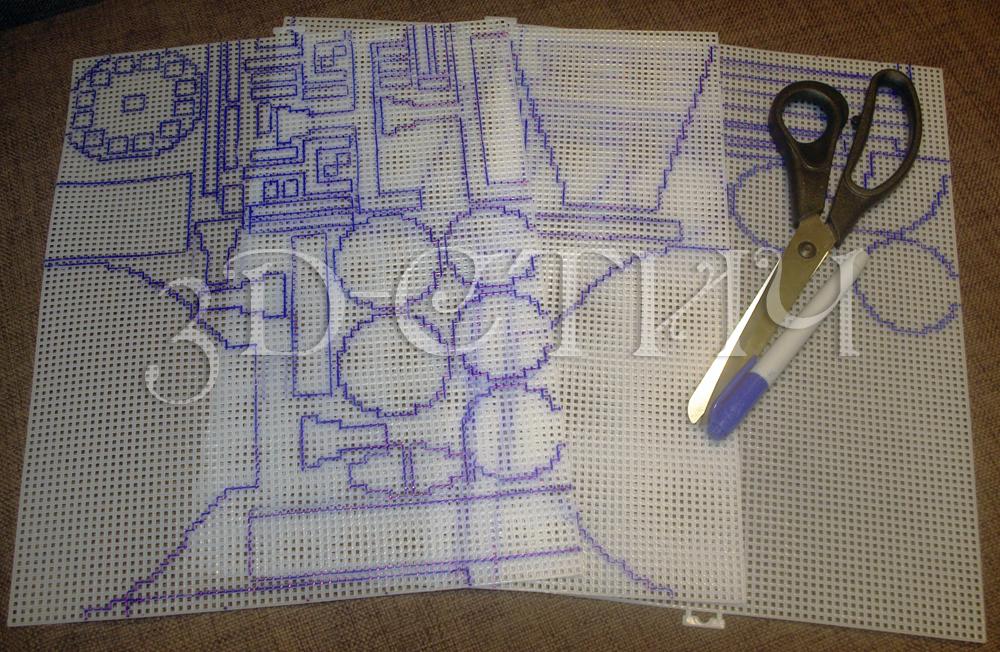 Мастер-класс вышивки на пластиковой канве - Телефон-часы - рисуем детали на канве