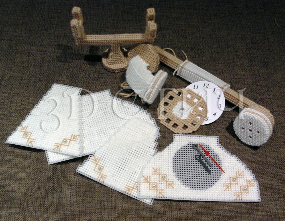 Мастер-класс вышивки на пластиковой канве - Телефон-часы - сборка трубки