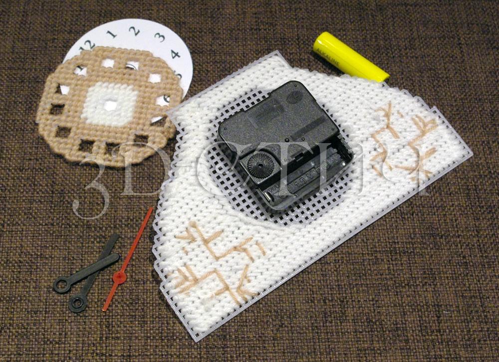 Мастер-класс вышивки на пластиковой канве - Телефон-часы - циферблат