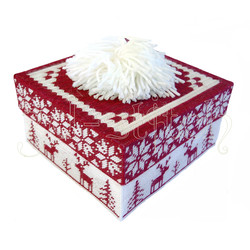 """Набор для вышивания на пластиковой канве Коробка """"Рождественские олени"""" (красная), арт. КР008-1"""