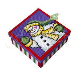 """Набор для вышивания на пластиковой канве КР019-1 Коробка """"Снеговичок в шарфе"""""""