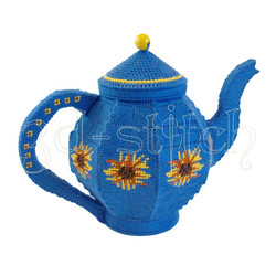 """Набор для вышивания на пластиковой канве КХ005-2 Чайник """"Подсолнухи"""""""""""