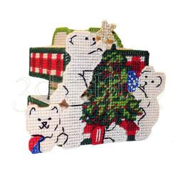 """Набор для вышивания на пластиковой канве НГ003-2 Подсвечник """"Новогодние мишки"""""""
