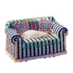 """Набор для вышивания на пластиковой канве С002-1 Салфетница """"Диван с подушками"""" (синий)"""