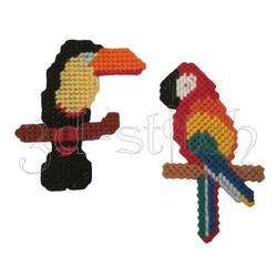 """Набор для вышивания на пластиковой канве М004 Магнитики """"Экзотические птицы"""""""