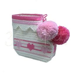 """Набор для вышивания на пластиковой канве Кашпо """"Детский носочек"""" (розовый), арт. ДТ003-1"""