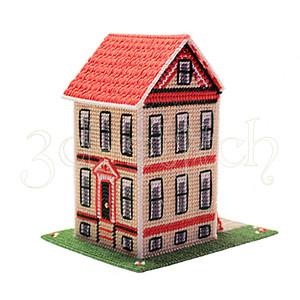 """Набор для вышивания на пластиковой канве Д008 """"Викторианский домик"""" вид сзади"""