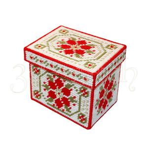 """Набор для вышивания на пластиковой канве КР005 """"Рождественская коробка"""" (большая) с крышкой"""
