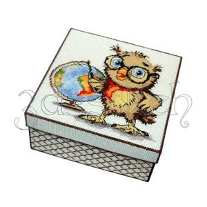 """Набор для вышивания на пластиковой канве КР017 Коробка """"Совенок-географ"""""""""""