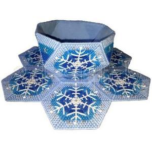 """Набор для вышивания на пластиковой канве КХ007 Кухонный набор """"Снежинки"""""""