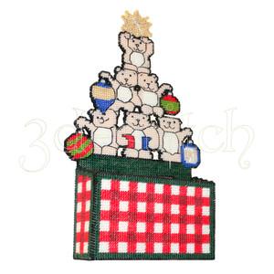 """Набор для вышивания на пластиковой канве НГ003-3 Коробка для писем """"Новогодние мишки"""""""