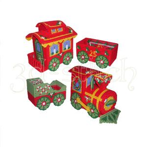 """Набор для вышивания на пластиковой канве НГ005 """"Рождественский паровозик"""" белый фон - вариант 2"""