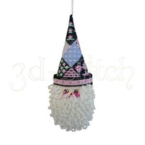 """Набор для вышивания на пластиковой канве НГ012/3 Игрушка на елку """"Санта"""" (пэчворк)"""