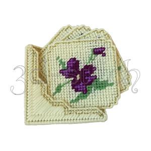 """Набор для вышивания на пластиковой канве ПД002 Набор подставок """"Фиолетовые цветы"""""""