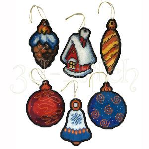 """Набор для вышивания на пластиковой канве НГ016 Елочные украшения """"Новогодний микс"""""""