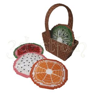 """Набор для вышивания на пластиковой канве ПД001 Набор подставок """"Веселые фрукты"""""""